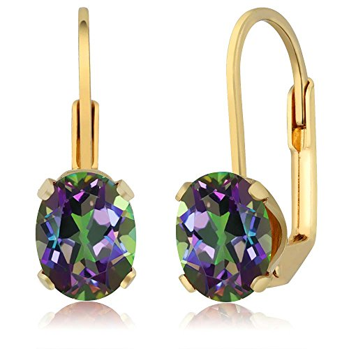 3.20 Ct Oval Shape Green Mystic Topaz Yellow Gold Plated Brass Dangle -