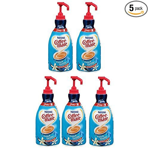NESTLE COFFEE-MATE Coffee Creamer, French Vanilla, 1.5L liquid pump bottle, Pack of 5 by Coffee-Mate