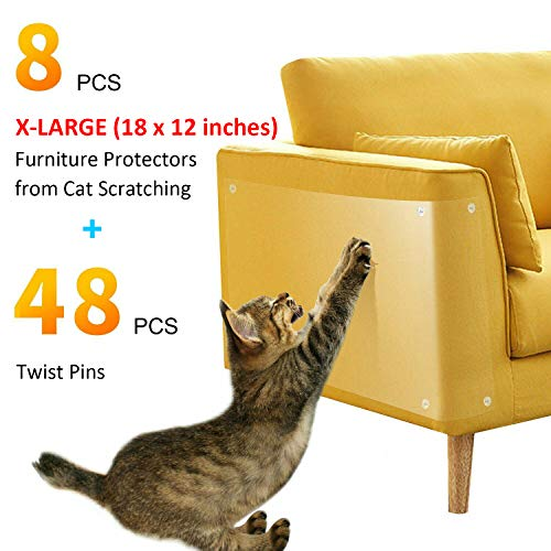 (GAMURRY Anti Scratching Cat Pad, Amazing Furniture Protector from Cat Scratching, Premium Scratching Pads to Protect Your Upholstered Furniture. 8 PCS 18