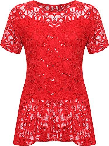 WearAll Plus Size Women's Lace Sequin Peplum Top - Red - US 22-24 (UK - Peplum Sequin