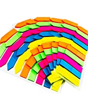 Neon Page Markers Sticky Index Tabs, 2000 Pieces Fluorescent Arrow Flag Tabs, 2 Shapes Sticky Note Flags, Translucent Page Makers for Page Marking, Writable, Repositionable, Durable