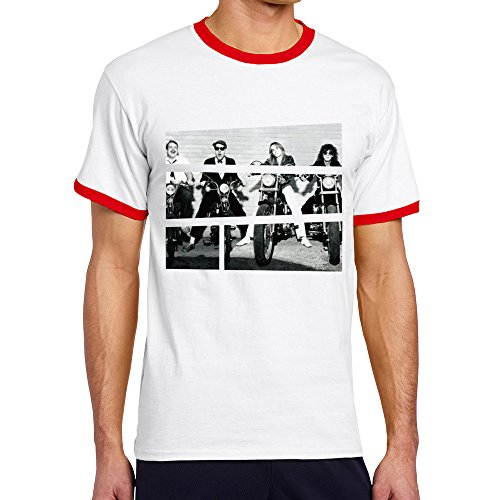 Men's Cool Cheap Trick Contrast Ringer Tee L Red (70s Outfits For Men)