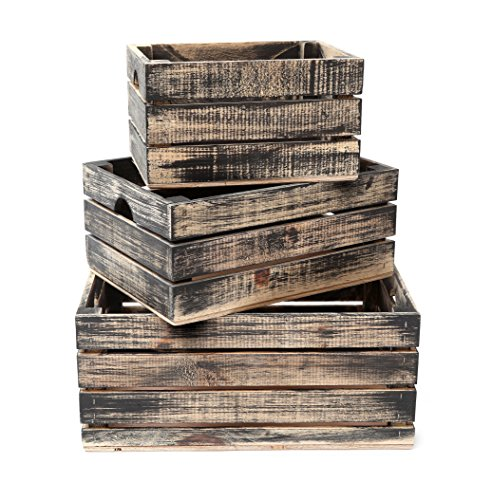 Apple Rustic (Rustic Decorative Wood Crates (Set of 3) (Black and Natural Distressed))