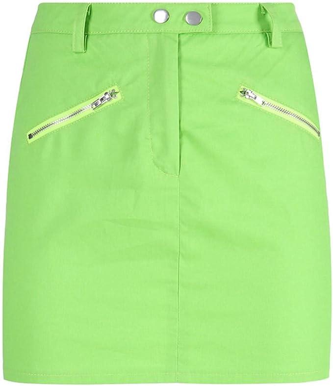 Mmllse Fluorescente Verde Mini Falda Streetwear Verano Sexy ...