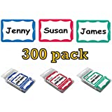 C-Line Pressure Sensitive Peel and Stick Name Badges, Blue, Red and Green Border, 3.5 x 2.25 Inches, 300 per Box (92263, 92264, 92265)