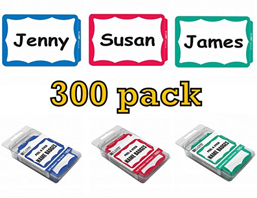 Self Stick Name Tags - C-Line Pressure Sensitive Peel and Stick Name Badges, Blue, Red and Green Border, 3.5 x 2.25 Inches, 300 per Box (92263, 92264, 92265)