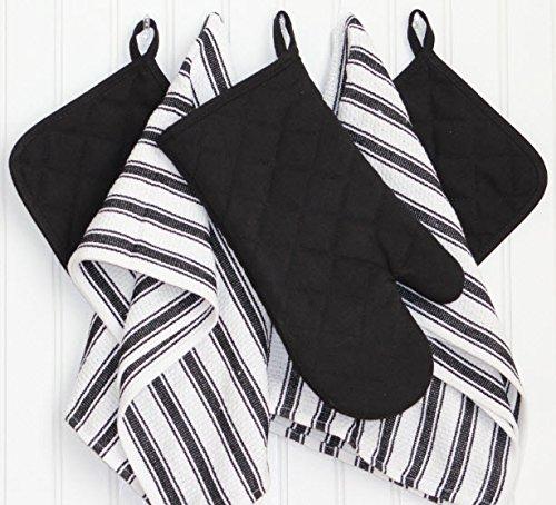 Dish Towels, Pot Holders Oven Mitt 5-Piece Premium Kitchen Linen Set Saybrook, 100% Cotton, Black/White