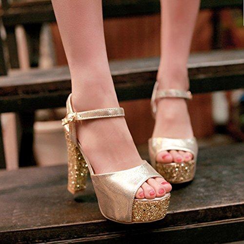 Aisun Damen Sommer Kunstleder Paillette Plateau Knöchelriemchen Sandale Abendschuhe Gold