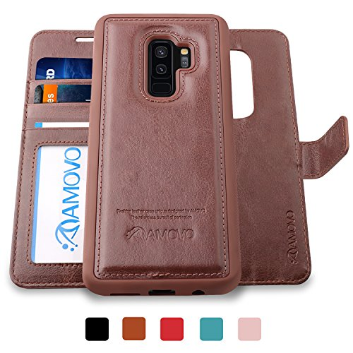 AMOVO Galaxy S9 Plus Case [2 in 1], Samsung Galaxy S9 Plus Wallet Case [Detachable Wallet Folio] [Premium Vegan Leather] Samsung S9 Plus Flip Case Cover with Gift Box Package (Brown, S9+) - Leather Case Bundle