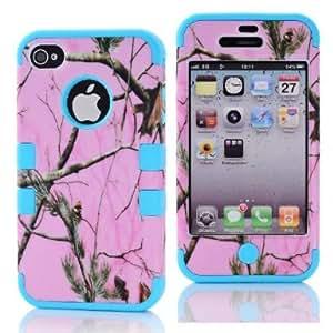 SHHR-HX4G188N Pink Pine Branch Design Hybrid case for Apple iPhone4 4s 4G -Sky Blue Color