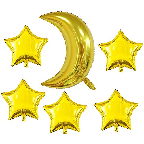(Gold Moon Shaped Foil Mylar Balloons Gold Star Shape Foil Mylar Balloons Pentagram Balloon 36Inch 18Inch Graduation Baby Shower Bridal Shower Engagement Birthday Party Wedding Anniversary)