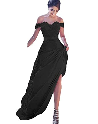 Long Black Lace Appliques Evening Dress Wedding Party Cocktail Formal Prom Gowns