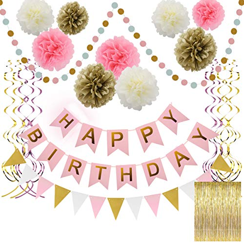 (Zooawa Happy Birthday Banner, [15 PCS] Birthday Party Decoration Set Gold Foil Fringe Curtain, Foil Swirls Spiral Garlands, Triangle Banner and Dot Banner for Children Party Supplies - Pink + Gold)