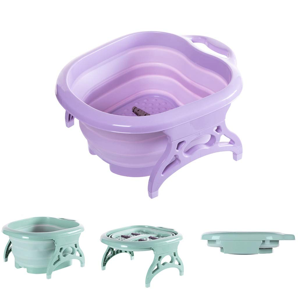 QBYLYG Collapsible Basin Extra Large Foot Soak Bath Tub Massaging Pedicure Spa Basin for Soaking Your Tired Sore Feet Big Footbath Bucket & Soaker Bowl - Great for Toe Nail Fungus (Color : Purple) by QBYLYG
