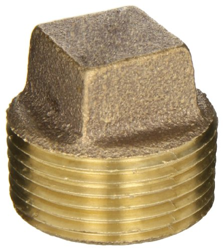 Anderson Metals 38109 Red Brass Pipe Fitting, Cored Plug, 1 Male Pipe