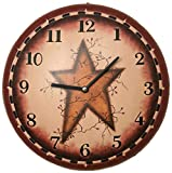 Primitive Kitchen Decor Your Hearts Delight Primitive Star Wall Clock, 11-1/4-Inch
