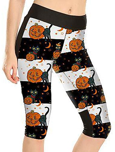 Sister Amy Women's 3D Digital Print Workout Running Capri Pants Crop Leggings Halloween Pumpkin US M