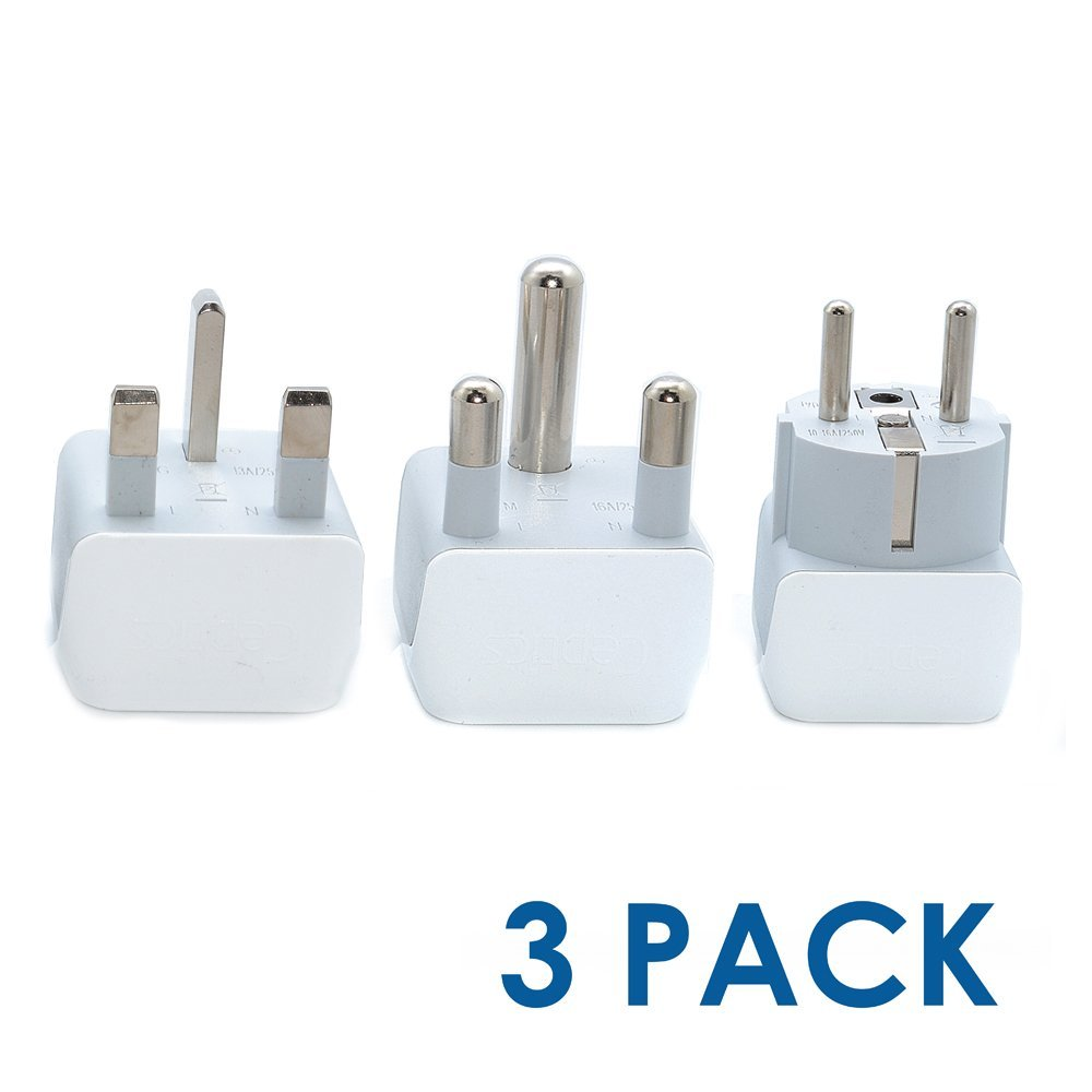 Namibia Travel Adapter Plug with Dual Usa Input Laptops Camera Chargers and More 3 Pack CT-10L Ultra Compact Ceptics South Africa Safe Grounded Perfect for Cell Phones Type M