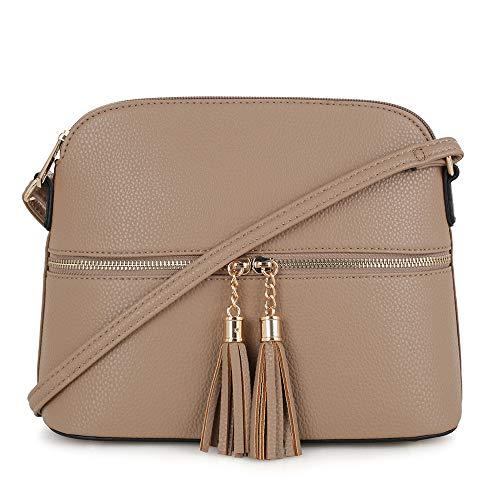 SG SUGU Lightweight Medium Dome Crossbody Bag with Tassel   Zipper Pocket   Adjustable Strap (Khaki)