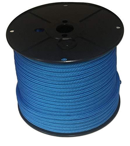 "3/8"" Blue Double Braided Nylon Anchor/Dock Line Rope (50 feet Hank)"