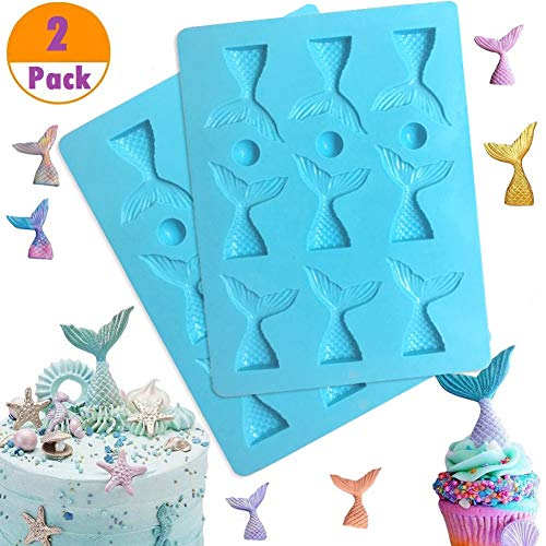 (SAKOLLA Mermaid Tail Silicone Mold - Mermaid Fondant Mold for Cupcake Topper Decoration,Cake Decoration,Chocolate, Candy, Sugar, Jelly, etc - Set of 2)