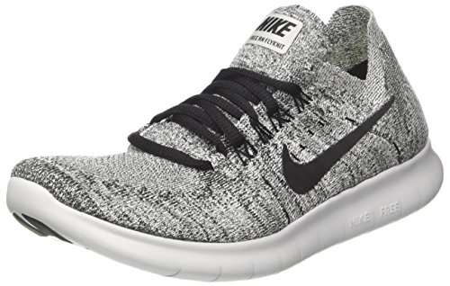 NIKE Women's Free RN Flyknit 2017 White/Black Stealth Running Shoe 8 Women US