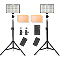 SAMTIAN LED Video Light with Stand and 3200/5500K Color Temperature Camera Light Kit for Canon Nikon Sony DSLR Camera and Camcorder Battery,Including Charger,Mini Ball Head and Carry Case