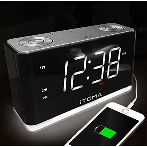 iTOMA Alarm Clock with FM Radio, Dual...