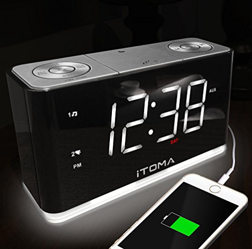 (New) iTOMA Alarm Clock with FM Radio, Dual Alarm, Night Light, Auto-Time Setting, Auto & Manual Dimmer Control, Sleep Timer, USB Charge Port, AUX-In, Battery Backup (CKS507)