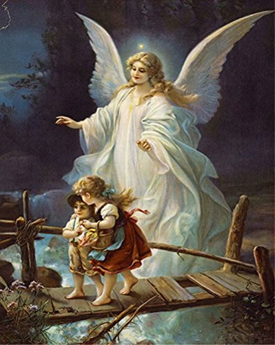 Diamond Painting by Number Kit, Karida 5D DIY Diamond Painting Animal Full Square Drill Guardian Angel Embroidery for Wall Decoration 12X16 inches (Full Drill)