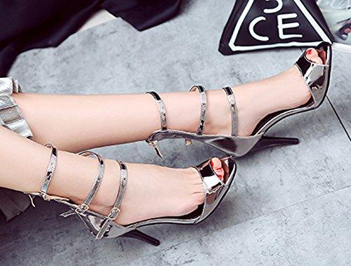 Aisun Women's Sexy Three Buckle High Heels Sandals Shoes Gun pmO7TIpQH