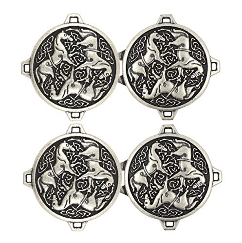 Bezelry 3 Pairs Celtic Horses Cape or Cloak Clasp Fasteners. 62mm x 35mm Fastened. Sew On Hooks and Eyes Cardigan Clip (Antique Silver) ()