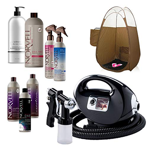 Tanning System Self (Fascination Spray Tan Machine System with Norvell Airbrush Tanning Solution Sunless Pro Kit Bundle and Bronze Pop Up Tent)