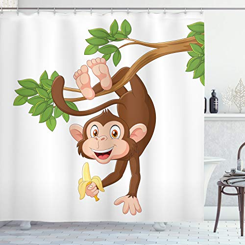 Ambesonne Cartoon Shower Curtain, Funny Monkey Hanging from Tree and Holding Banana Jungle Animals Theme Print, Cloth Fabric Bathroom Decor Set with Hooks, 70 Long, Chocolate White