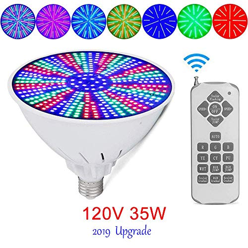 (Vincool 120V 35W AC/DC Color Changing Replacement Swimming Pool Lights Bulb LED PAR56 Light (Switch Control + Remote Control Type) for Pentair Hayward Light Fixture,and for Inground Pool,E27/E26)