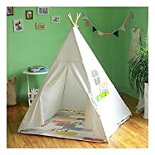 Kid's White Authentic Giant Canvas Indian Teepee Tripod Play Tent Kids Hut Children House
