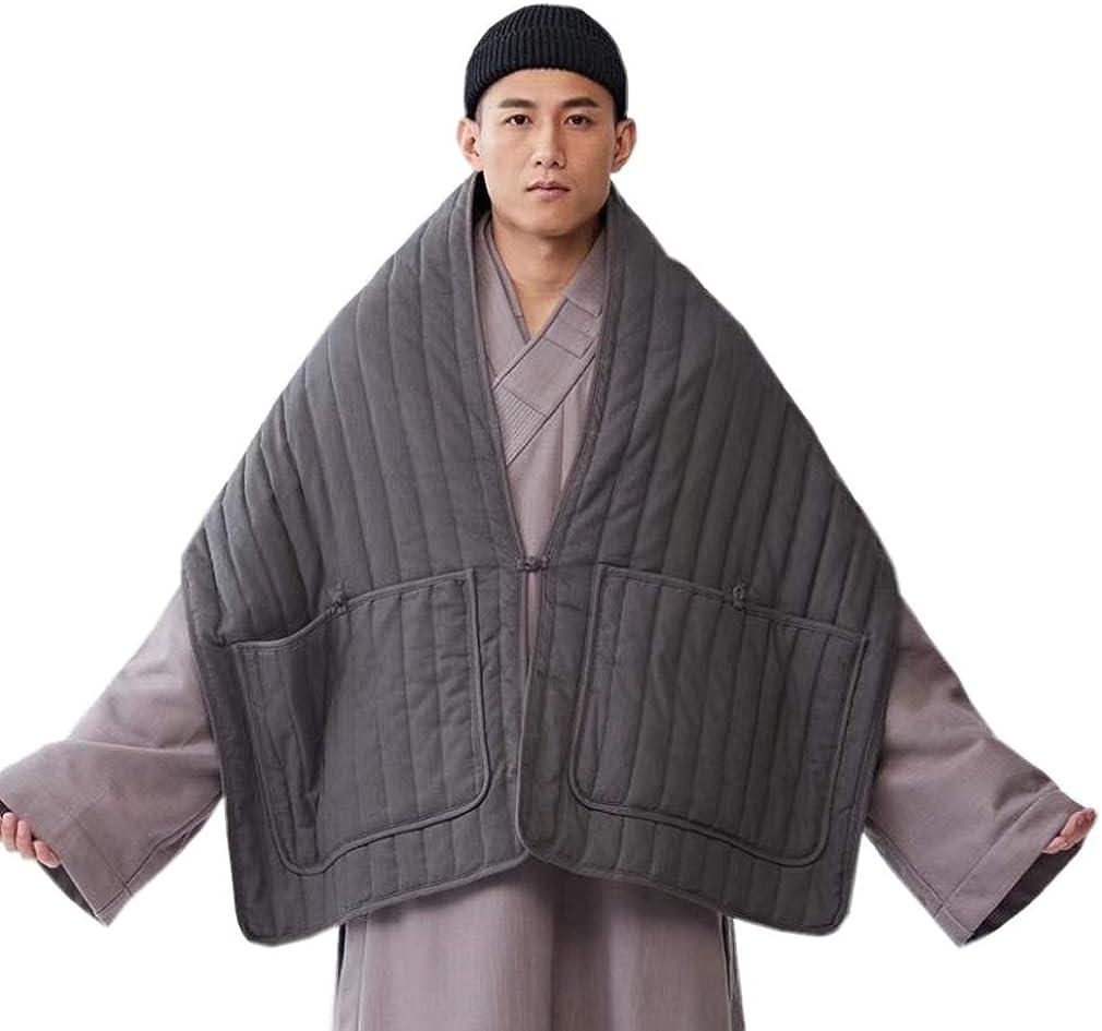 ZanYing Men's Winter Cloak Meditation Buddhist Monk Cloak With Pockets
