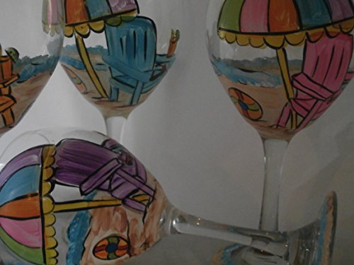Hand Painted beach chair red wine goblets. Set of 4