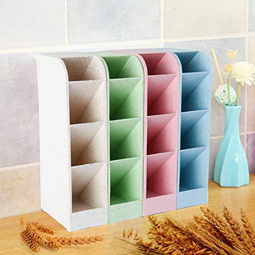 Yaegoo Wheat Straw Desk Pencil Organizer - Caddies for Office/Teacher/School Supplies/Markers/Gel Pens/Paint Brushes Storage Holder Racks - 4 Colors 16 Compartment