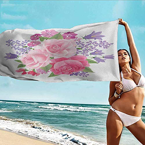 TT.HOME Dog Bath Towel,Pink and White Bridal Bouquet with Booming Flowers Rose Lavender Violet Corsage,Bath Towel for Bathroom,W35x12L, Pink Lavander Green