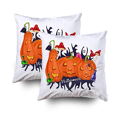 Capsceoll 2PCS Christmas Festive Pumpkins Potion Fly Decorative Throw Pillow Case 20X20Inch,Home Decoration Pillowcase Zippered Pillow Covers Cushion Cover with Words for Book Lover Worm Sofa Couch