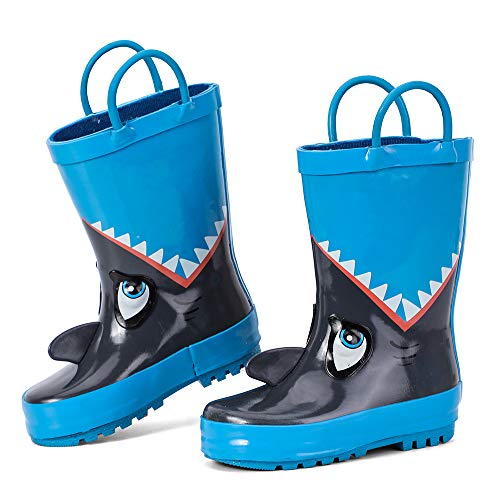 hiitater Boys Waterproof Rubber Rain Boot with Easy Pull On Handles Blue/Shark 12 M US Little Kids