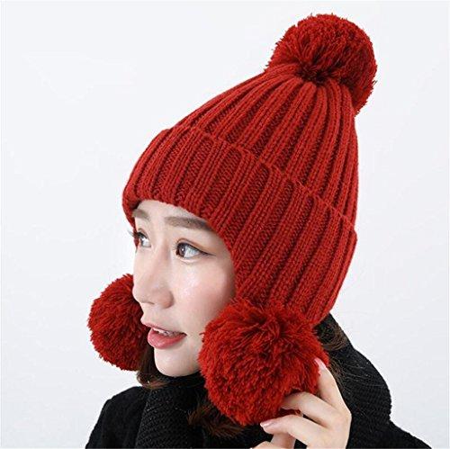 gorro pelo de Exterior oído Cálido el proteger punto Moda red peludas de Sombrero Bola ZHAS FCqfw