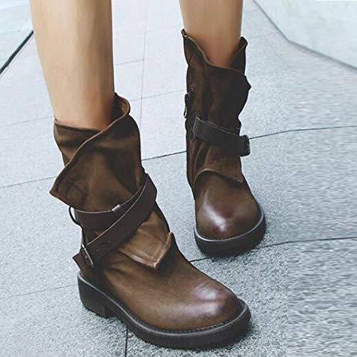 Zapatos Moda Verano Hebilla Mocasines Artificial De Militares Patchwork Mujer Zapatos Marrón Cuero Mujeres Medio Botas rptUxrSw