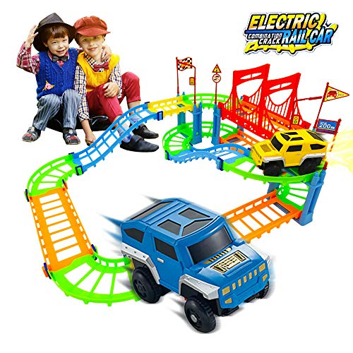 GABRIEL F Race Cars Tracks for Boys, Magic Snap Speedway Building Sets for Kids, Educational Toys Playsets with Electric Vehicle, Super Gift for Children as Seen on TV (90 ()