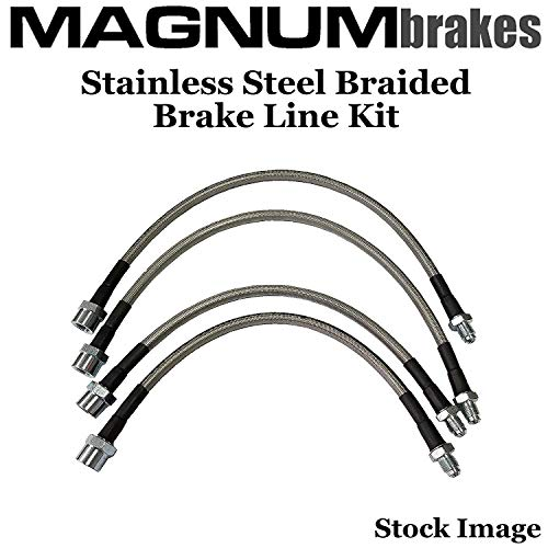 2 Front & 2 Rear MagnumBrakes Stainless Steel Brake Lines for 2002-2008 Audi A4/A4 Quattro