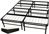 DuraBed Steel Foundation & Frame-in-One Mattress Support System Foldable Bed Frame with Decorative Bed Skirt, Queen, Black