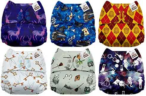 Mama Koala One Size Baby Washable Reusable Pocket Cloth Diapers, 6 Pack with 6 One Size Microfiber Inserts (Magic School)