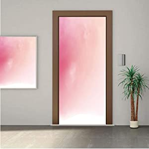 Ylljy00 Peach ONE Piece Door Stickers,Blurred Background Changing Colors Ombre Inspired Composition Dreamy Display 30x80 Peel & Stick Removable Wall Mural,Decal,Poster for Door/Wall/Fridge Home Decor