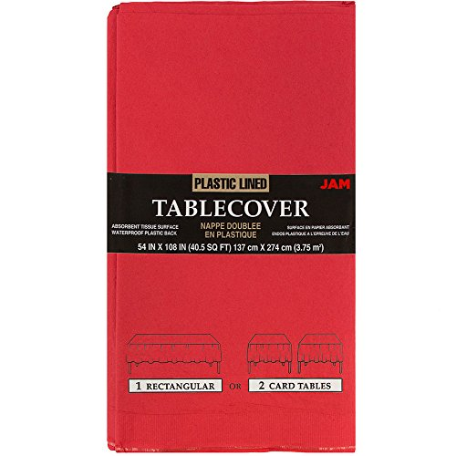 JAM PAPER Rectangular Paper Table Cover with Plastic Lining - 54 x 108 Inches - Red - 1 Tablecloth/Pack -